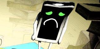 Imagen de un celular triste