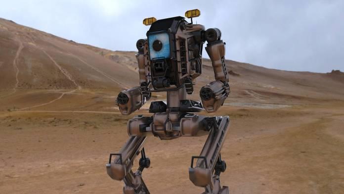 Robot grande en desierto