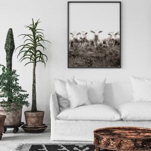 black and white cows wall print