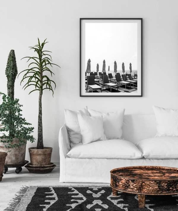 black and white pool chairs wall print tel aviv