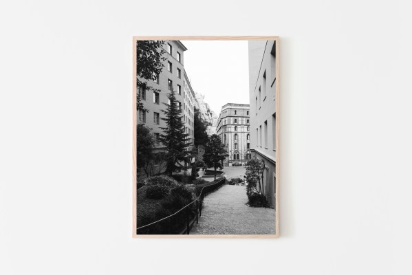 black and white spain buildings wall print