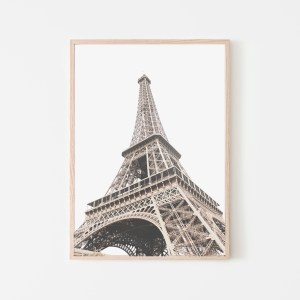 bottom view Eiffel tower wall print