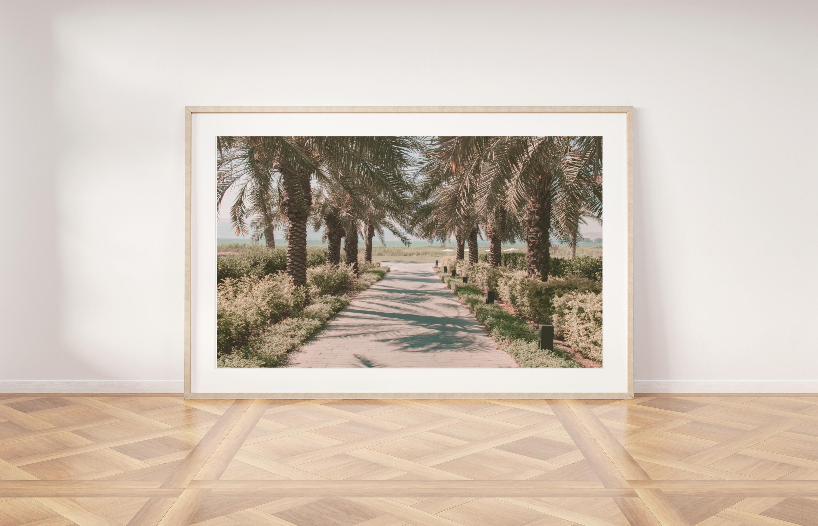 palm trees road wall print