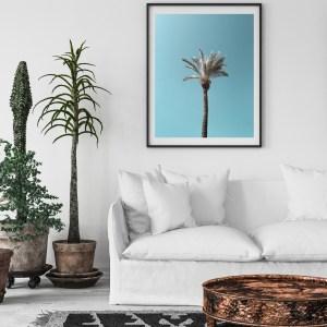 one palm tree blue sky tel aviv wall print