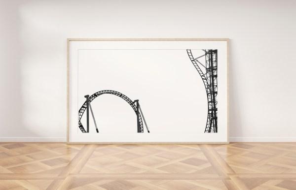 roller coaster black white wall print