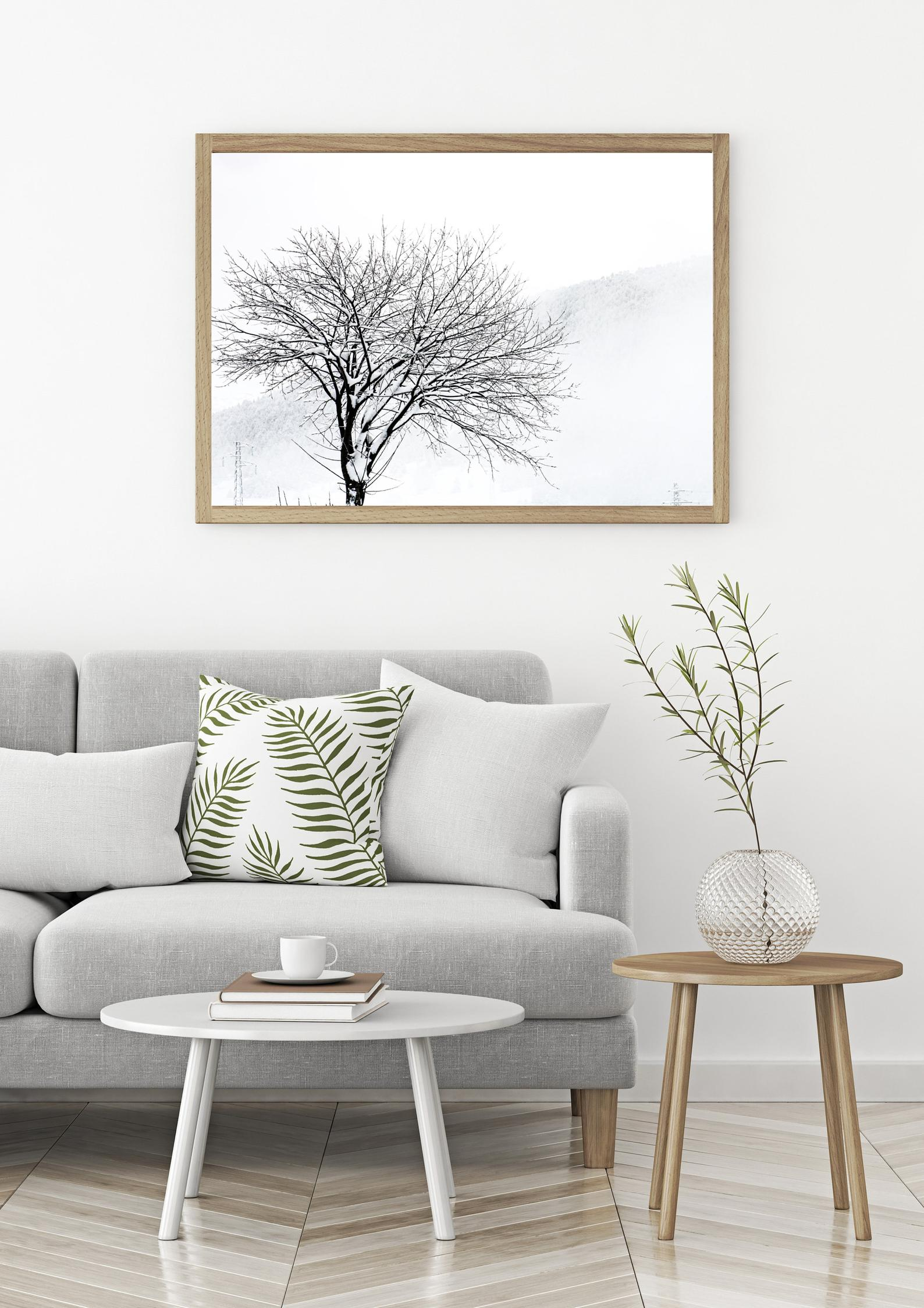 snowy tree wall print