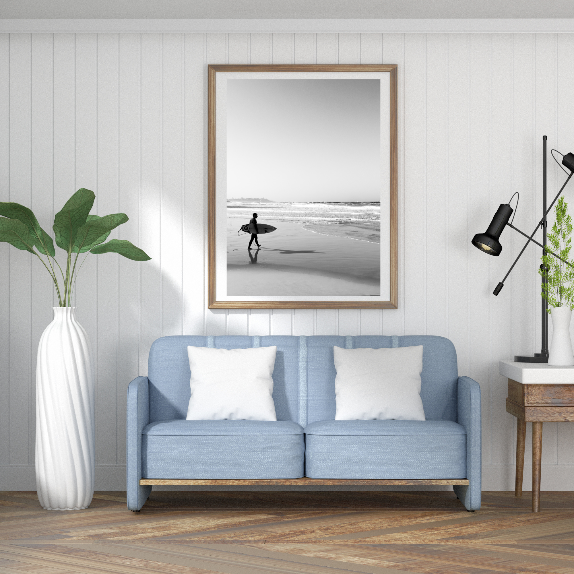 surfer black and white print