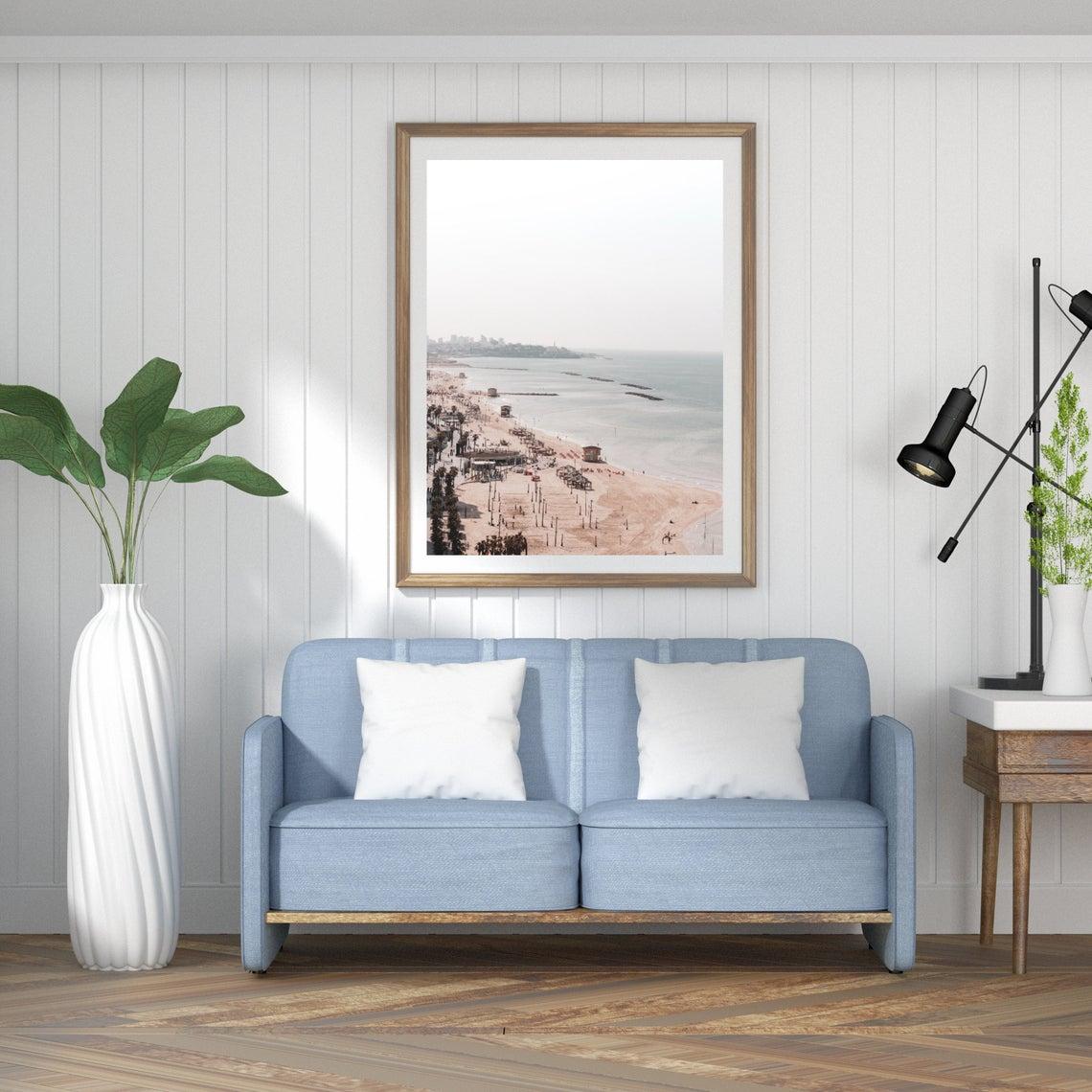 tel aviv beach waterfront wall print