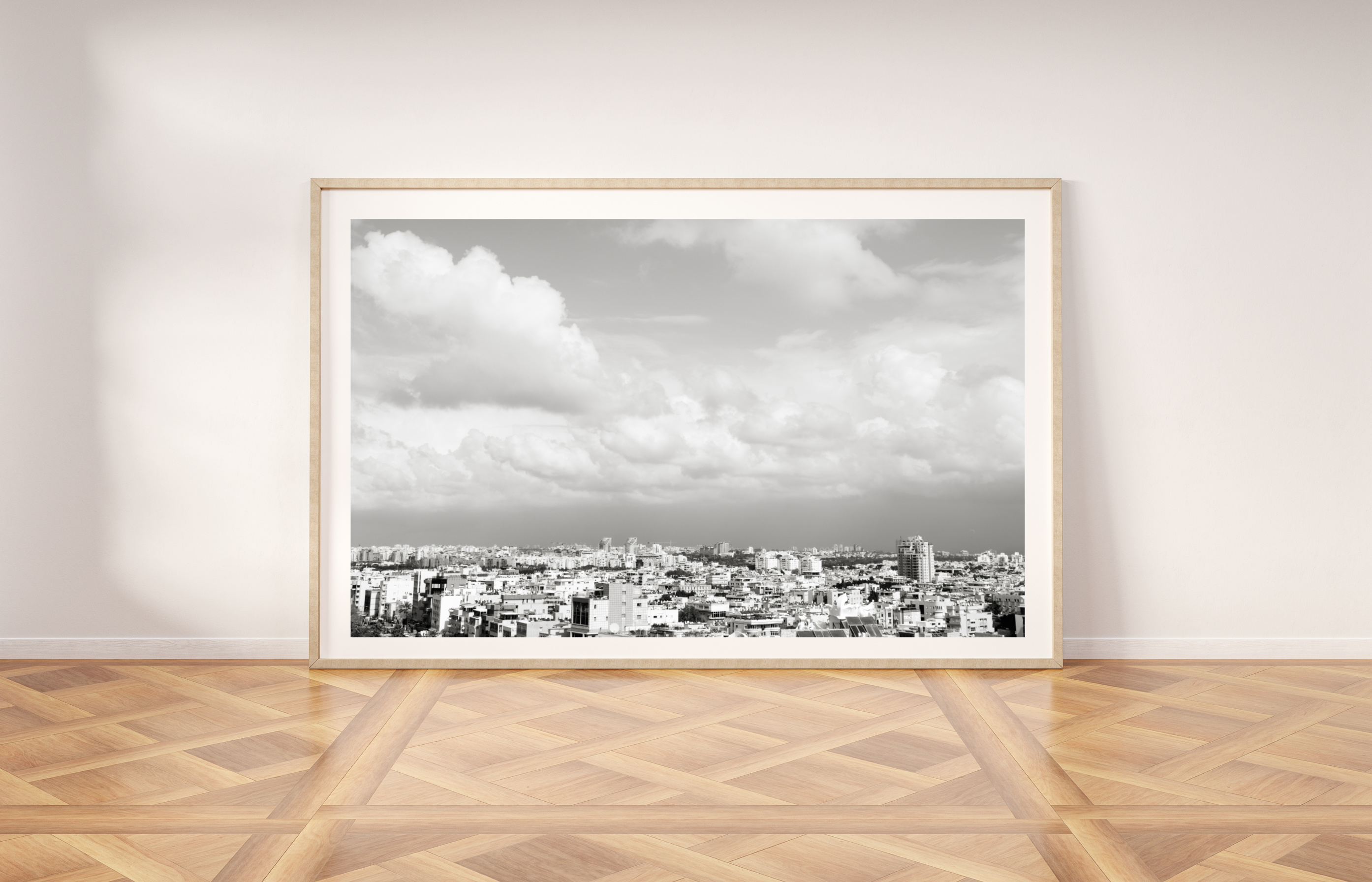 tel aviv rooftops black and white print