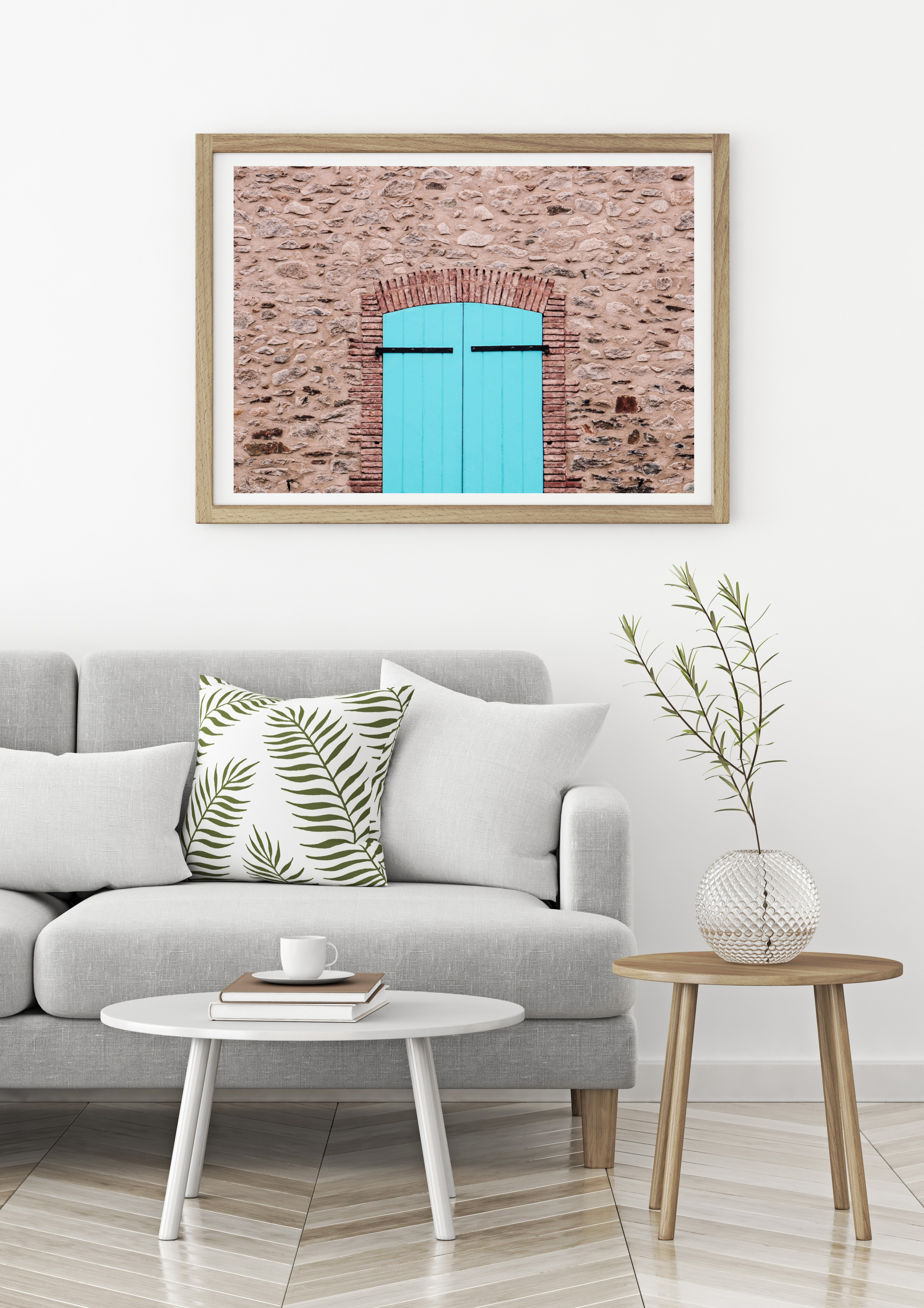 Turquoise door village spain wall print