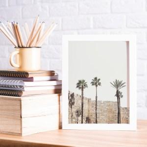 תמונת קיר חומות ירושלים ועצי דקל