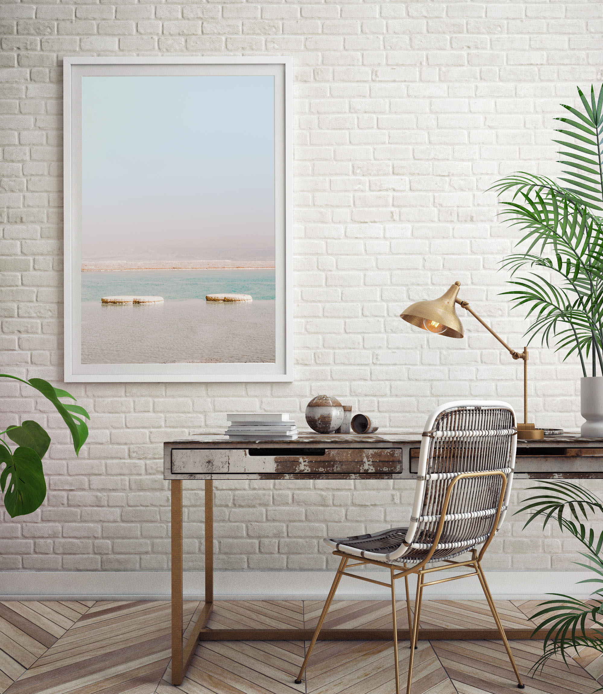 dead sea veritcal turquoise wall print 1