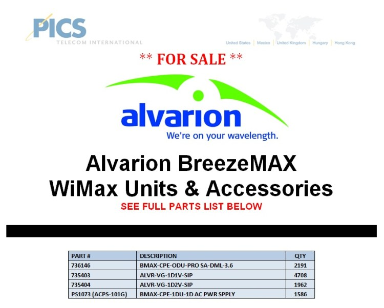 Alvarion BreezeMAX WiMax For Sale