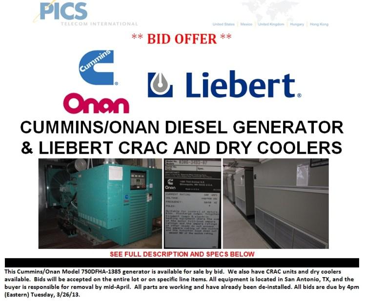 Cummins-Onan Generator & Liebert For Sale Top 3.12.13