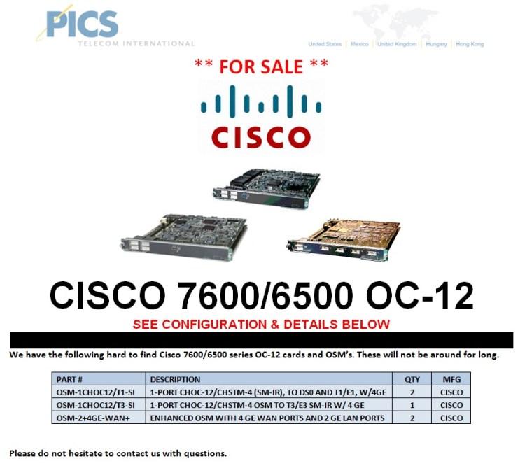 Cisco 7600-6500 Series OC-12 For Sale Top (5.7.13)