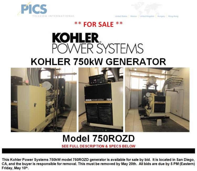 Kohler 750kW Generator Bid For Sale Top (5.3.13)