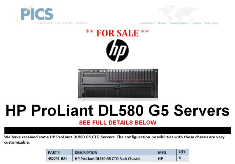 HP ProLiant DL580 G5 Servers For Sale Top (6.21.13)