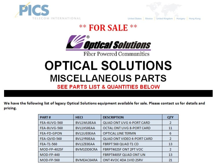 Optical Solutions Misc. Parts For Sale Top (8.13.13)