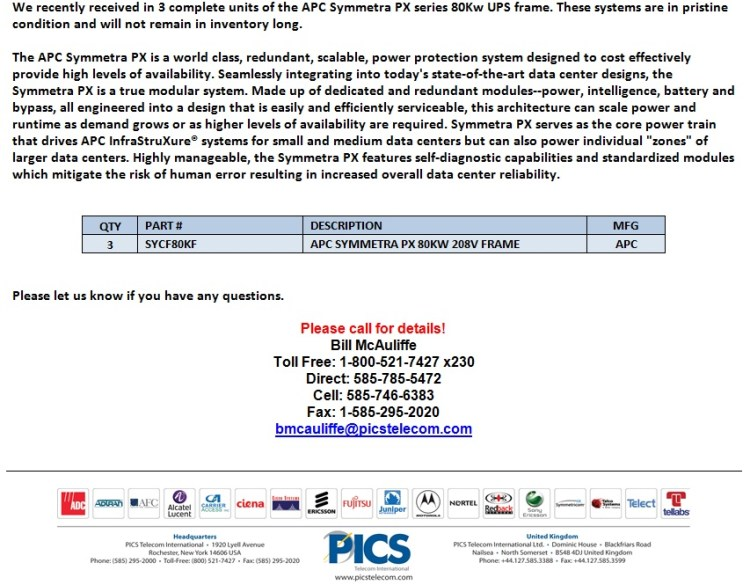 APC Symmetra PX 80kW UPS Frames For Sale Bottom (10.23.13)