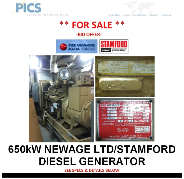 Newage-Stamford 650kW Generator For Sale Top (1.14.14)