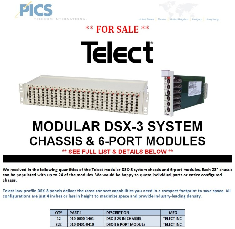 Telect Modular DSX-3 System Parts For Sale Top (2.6.14) - Copy