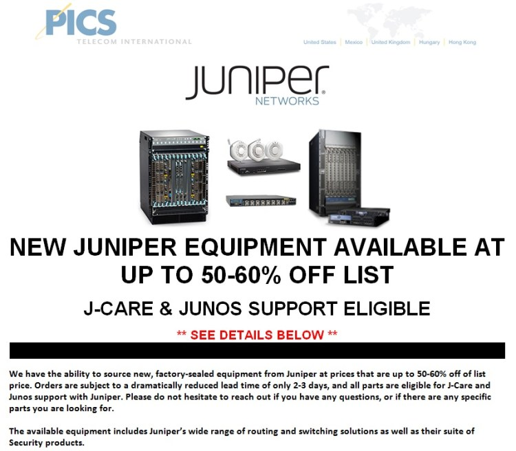 Juniper New Equipment Off List For Sale Top (4.21.14)