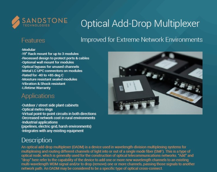 Sandstone Add-Drop MUX For Sale Top (4.4.14)
