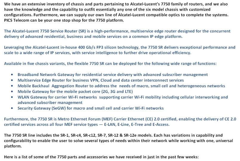 Alcatel-Lucent 7750 Parts For Sale Bottom 1 (7.22.14)