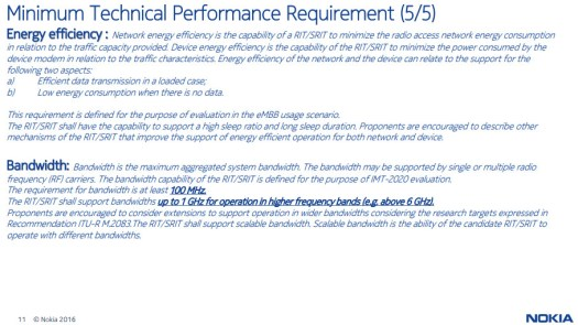 Nokia IMT 2020 requirements slide