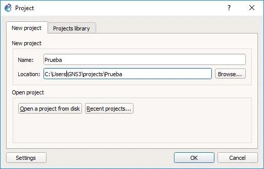 Creación o apertura de un proyecto en GNS3.