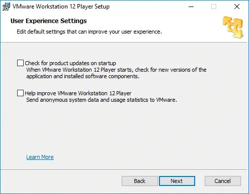Selección de las opciones User Experience Settings en VM Ware
