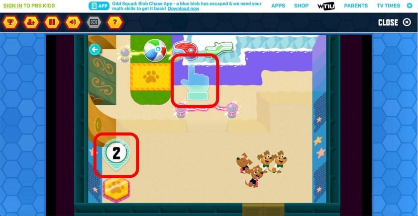 Визуальные инструкции игры Puppy Quest на сайте PBS Kids не содержат четкого определения цели игры. Они показали, как управлять игрой (перетаскивать предметы, чтобы привлечь щенков), но участники нашего исследования не поняли, что цифра 2 (отображается в нижнем левом углу) означает, что двум щенкам нужно было добраться до золотой площадки. Аудиоинструкции попытались помочь, но браузер заблокировал воспроизведение звука.