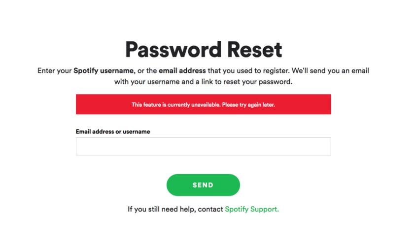 Сбой в обслуживании в Spotify сопровождался запутанным сообщением об ошибке: эта функция в настоящее временно недоступна. Пожалуйста, попробуйте позже.