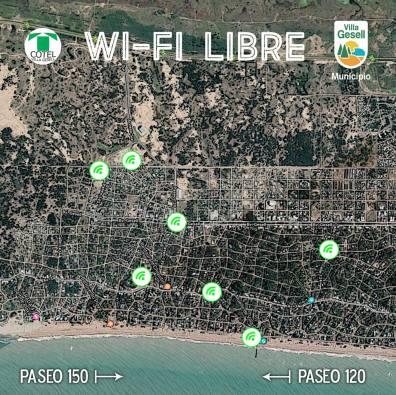 Algunos de los sitios en donde Cotel habilitará el servicio wifi en Villa Gesell