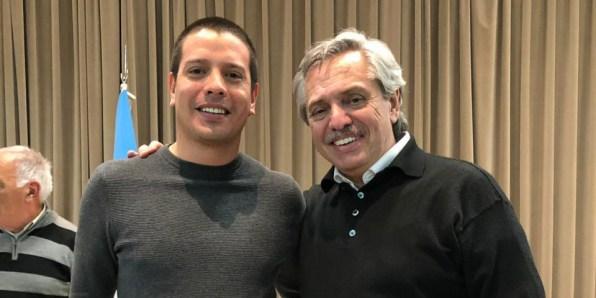 Albero Fernández y Cristian Cardozo, quien busca ser intendente de La Costa