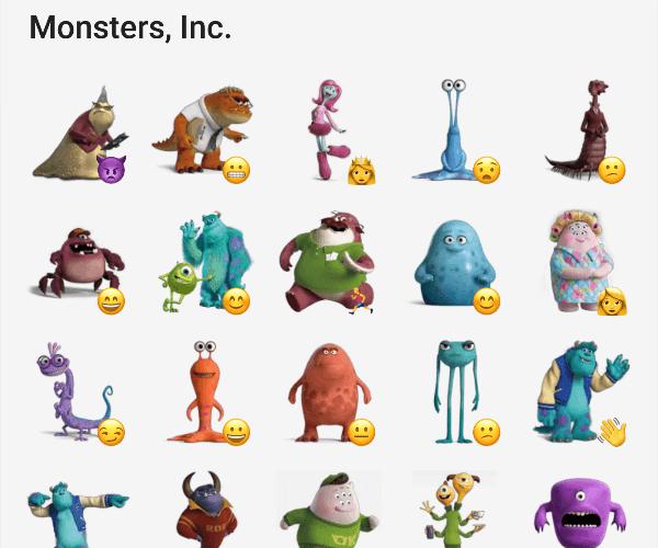 Monsters inc. sticker pack for telegram