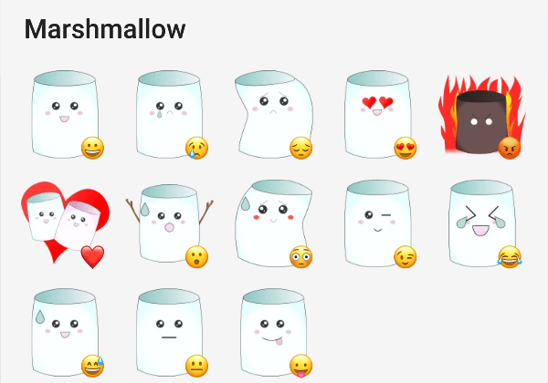 Telegram sticker pack about marchmallows