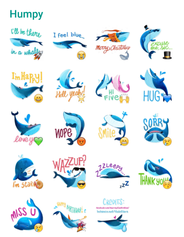 Humpy the whale sticker pack