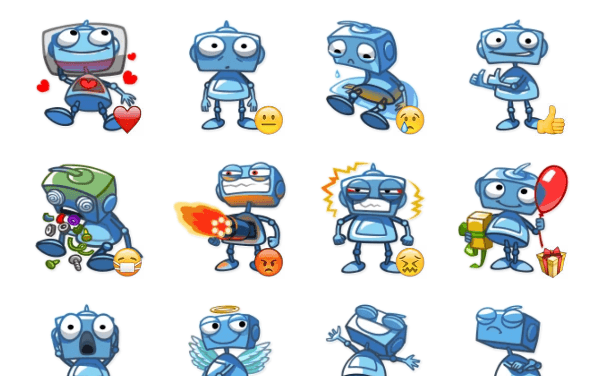 Blue Robot Sticker Pack
