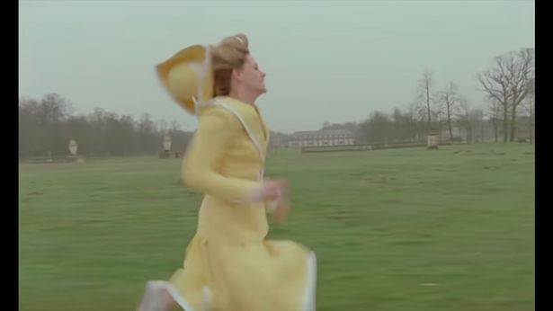 Diana runs in the palace grounds and later runs through the corridors