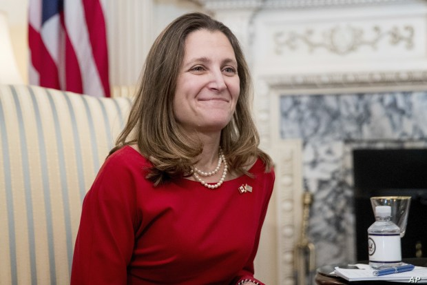 FILE - Canadian Foreign Affairs Minister Chrystia Freeland at the State Department in Washington, Feb. 8, 2017.
