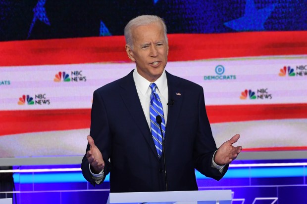 Democratic presidential hopeful former U.S. Vice President Joseph R. Biden speaks during the second Democratic primary debate of the 2020 presidential campaign at the Adrienne Arsht Center for the Performing Arts in Miami, June 27, 2019.