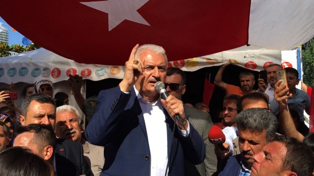 AKP candidate Binali Yildirm seeks to rally the base saying the opposition stole his victory in March poll for Istanbul mayor.
