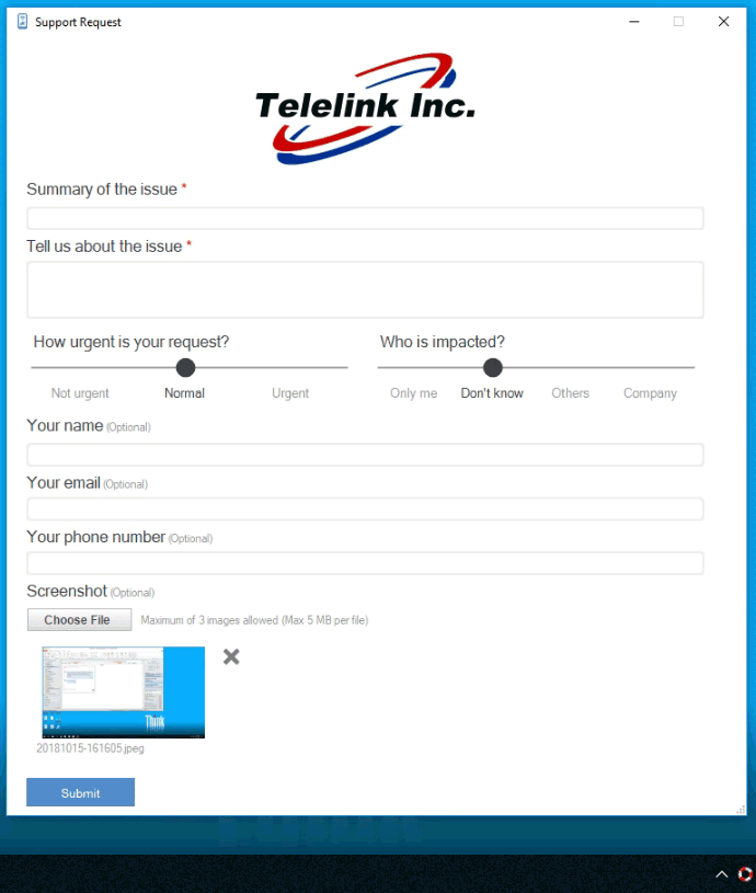 Fill out the support request form