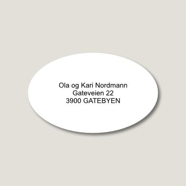 Skilt til postkasse, ovalt, hvitt med sort tekst