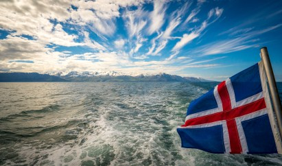 Icelandic flag at Husavik bay