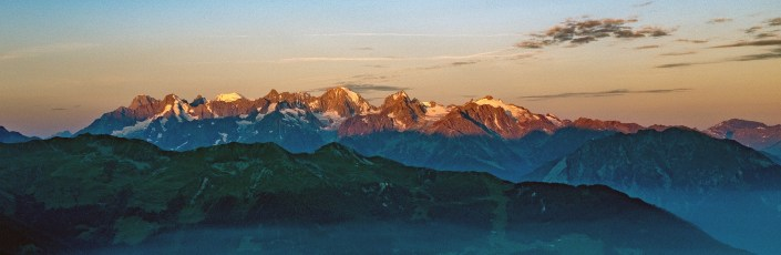 Sunset of the Combin Massif from the deck of Cabane du Mont Fort