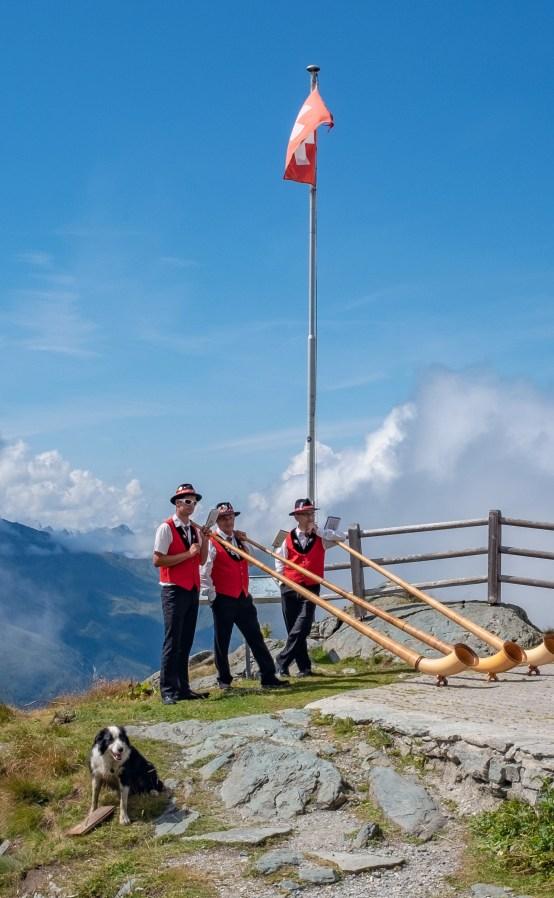 Tradional alpine horn players at Cabane du Mont Fort