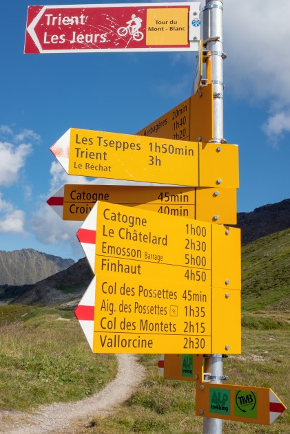 Trail Sign at Col de Balme