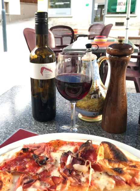 Pizza and wine in Le Chable after a long day of hiking - nice!